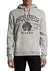 Dsquared Printed Long Sleeve Cotton Hoodie Grey