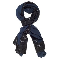 Chesca Chiffon And Sequin Detail Shawl Blue