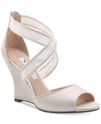 Nina Elyana Strappy Evening Wedge Sandals Women's Shoes Ivory