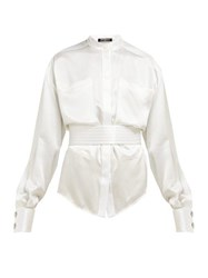 Balmain Belted Silk Satin Blouse White