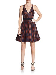 Abs By Allen Schwartz Lurex Check Pleated A Line Dress Rust