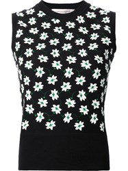 Carolina Herrera Floral Embroidered Knit Tank Black