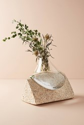 Anthropologie Glass And Stone Vase Neutral