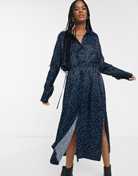 Weekday Dot Print Shirt Dress In Blue Black