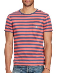Polo Ralph Lauren Crewneck Short Sleeve Striped Cotton Tee West Red