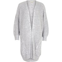 River Island Womens Grey Cable Knit Detail Longline Cardigan