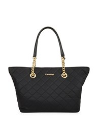 Calvin Klein Quilted Small Satchel Tote Black Quilt