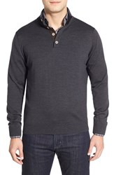 Men's Thomas Dean Merino Wool Sweater Charcoal
