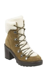 Marc Fisher Ltd Daven Genuine Shearling Lace Up Boot Taupe Suede