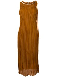 Nina Ricci Plisse Pleated Frayed Edge Dress Yellow Orange