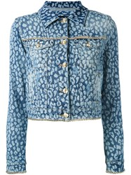 Philipp Plein Animal Print Denim Jacket Women Cotton Spandex Elastane M Blue