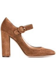 Gianvito Rossi 'Lorraine' Mary Jane Pumps Brown