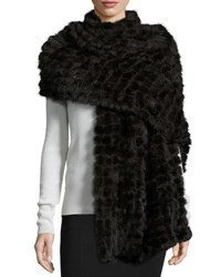 La Fiorentina Natural Mink Fur Stole Dark Brown