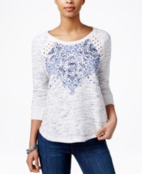 Miss Me Printed Lace Contrast Top Blue
