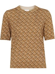 Burberry Monogram Print Merino Wool Top Brown