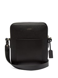 Smythson Panama Reporter Leather Cross Body Bag Black