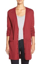 Petite Women's Halogen Side Zip Long V Neck Cardigan Red Tibetan