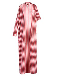 Balenciaga Asymmetric Sleeve Striped Maxi Dress Red Stripe