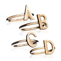 Rachel Jackson London Art Deco Initial Ring Gold