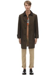 Burberry Cotton Trench Coat W Check Lining Army Green