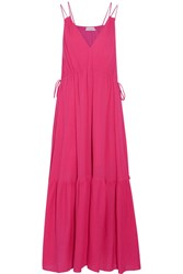 Apiece Apart Daphne Cotton Crepon Maxi Dress Fuchsia