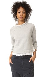 La Vie Rebecca Taylor Long Sleeve French Terry Pullover Grey Heather