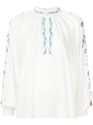 Vilshenko Floral Embroidered Blouse White