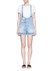 Valentino Butterfly Embroidered Applique Denim Overalls Blue