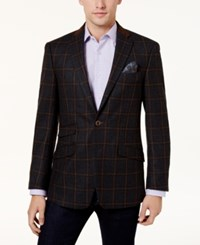 Tallia Men's Slim Fit Charcoal Light Brown Windowpane Sport Coat Charcoal Brown