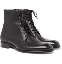 Brioni Textured Leather Boots Black