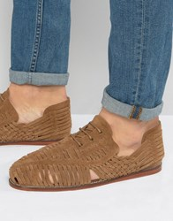 Asos Woven Lace Up Sandals In Tan Suede Tan