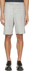 Moncler Gamme Bleu Grey Wool Mix Plaid Shorts