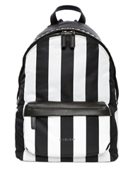 Givenchy Striped Cotton Canvas And Leather Backpack Black White
