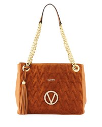 Valentino By Mario Valentino Luisa Suede Leather Quilted Tote Bag Brown