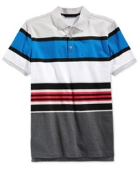 Sean John Men's Core Big And Tall Stripe Polo Platinum