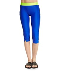 Monreal London Mid Rise Booster Capri Sport Leggings Azure Blue