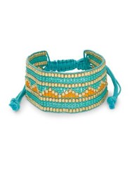 Design Lab Lord And Taylor Beaded Band Tied Bracelet Blue