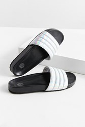 Urban Outfitters Uo Quilted Holographic Pool Slide Silver