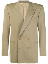 Yves Saint Laurent Vintage 1980'S Boxy Double Breasted Blazer Nude And Neutrals