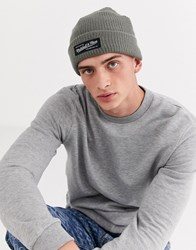 Mitchell And Ness Box Logo Cuff Knit Beanie Hat In Grey