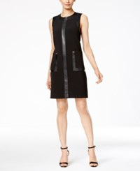 Calvin Klein Faux Leather Trim Shift Dress Black