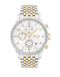 Hugo Boss Navigator Round Stainless Steel Case And Two Tone Bracelet Chronograph Watch
