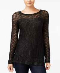 Jessica Simpson Darlanne Mixed Knit Illusion Sweater Black