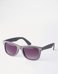 Asos Wayfarer Sunglasses In Matt Grey