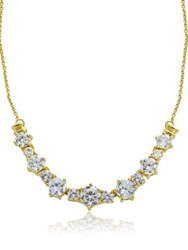 Lord And Taylor Sterling Silver Cubic Zirconia Cluster Necklace Gold