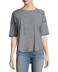 Rag And Bone Valley Striped Relaxed Tee Blue Pattern