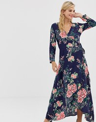 Liquorish Floral Maxi Dress With Front Splits And Wrap Front Detail Multi
