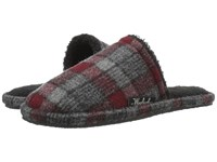 Woolrich Chatham Slide Gray Red Plaid Wool Men's Slippers