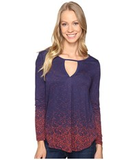 Lucky Brand Printed Top Navy Multi Women's Clothing Blue