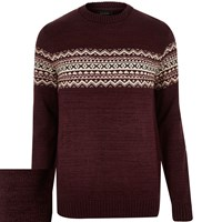 River Island Mens Dark Red Knitted Fairisle Jumper